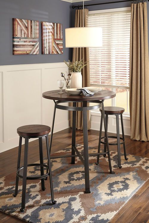 Ashley Challiman 3 Pc Round Dining Room Bar Table 2 Tall