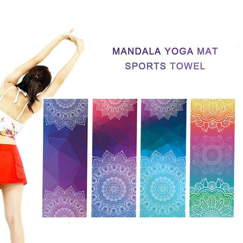baaf50ea156 3d HD Print Microfiber Mats Indian Mandala Yoga Mat Thicker Non-slip Pad  Cloth 4 Colors Gym Sports Towels 183x63cmx0.3cm  Affiliate