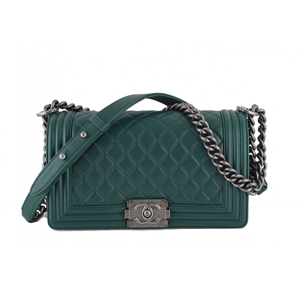 a66206261e6b34 Chanel Emerald Green Le Boy Flap bag. Made of well-crafted soft lambskin  leather. The dark emerald green color.