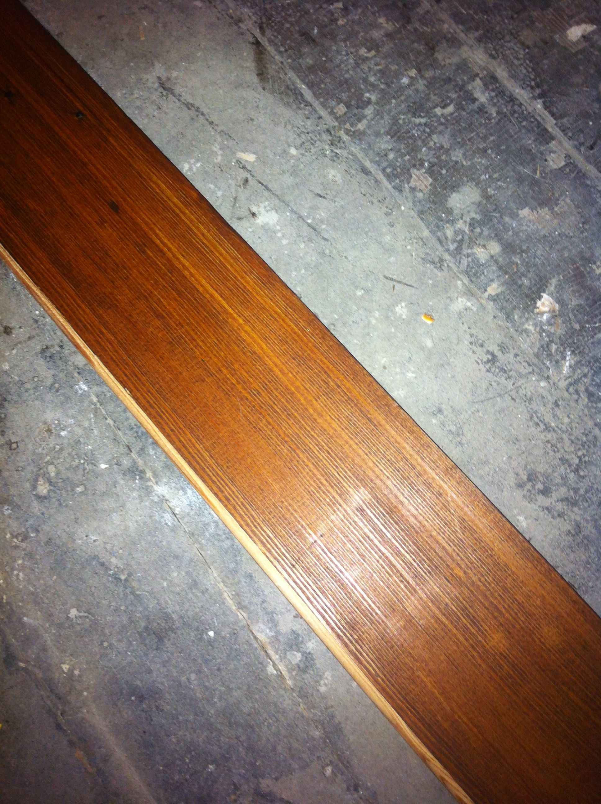 Wet Kitchen Floor A Piece Of Heart Pine Stained With English Chestnut From Minwax