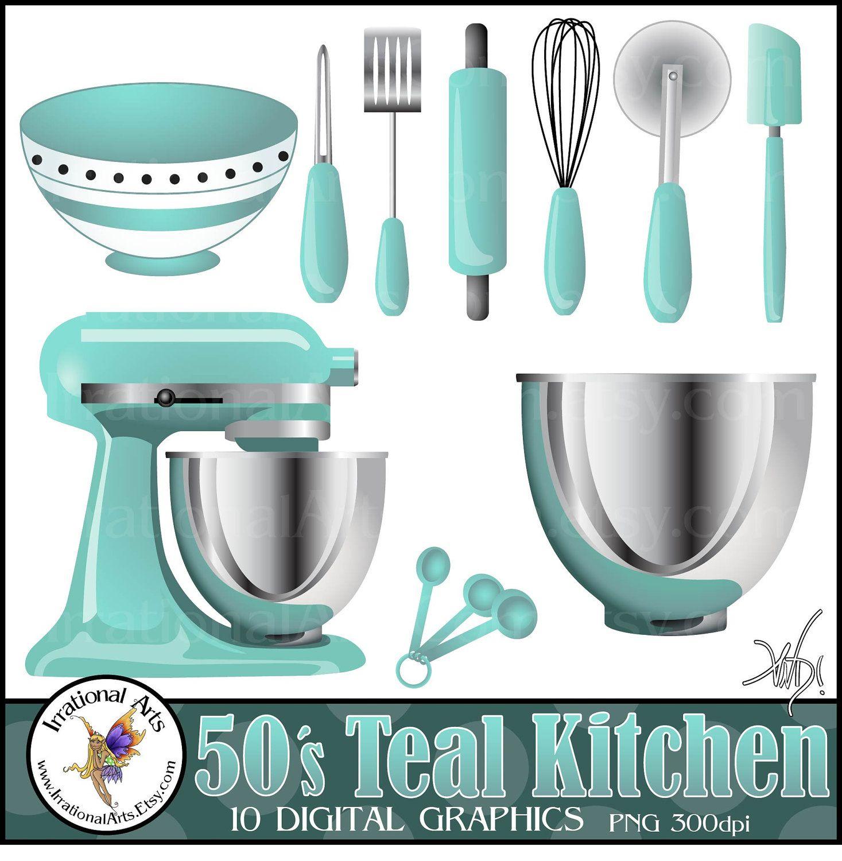 50\'s Teal Kitchen Digital Clipart Graphics - 10 kitchen baking ...