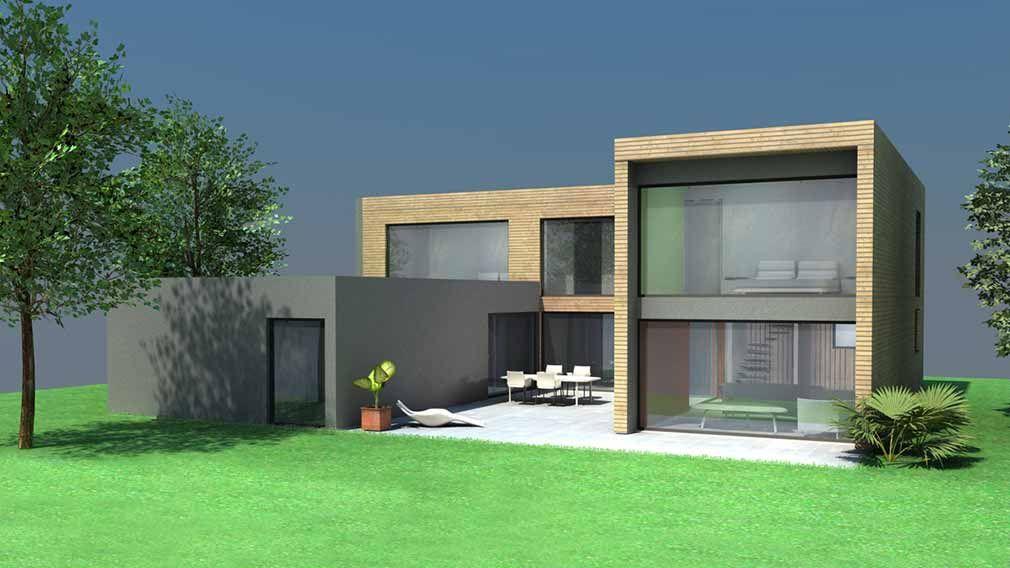 Plan Maison Architecte - Maison contemporaine cubique à toit - Plan De Maison Cubique