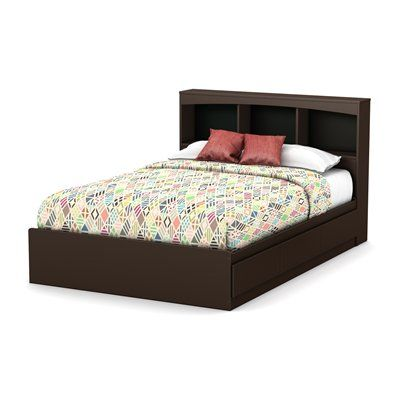South S Furniture One Step Storage Bed With Bookcase Headboard