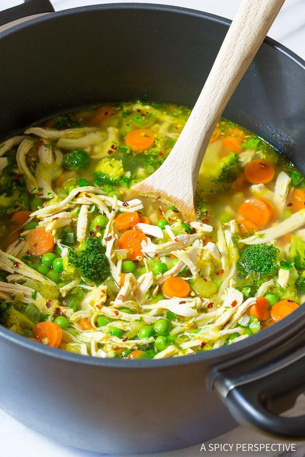 Healthy Chicken Detox Soup Recipe & Cleanse | http://ASpicyPerspective.com (Paleo, Gluten Free, Dairy Free)