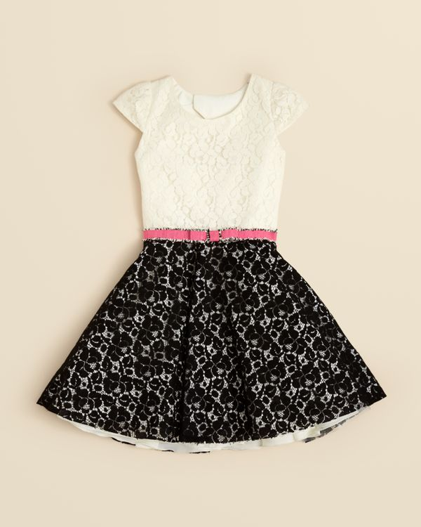 Girls Belted Lace Dress