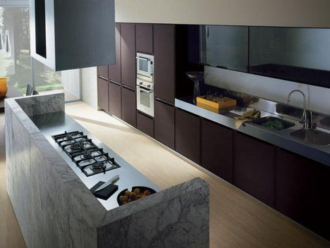 Under soffit and concrete surround island Kitchen Iterations