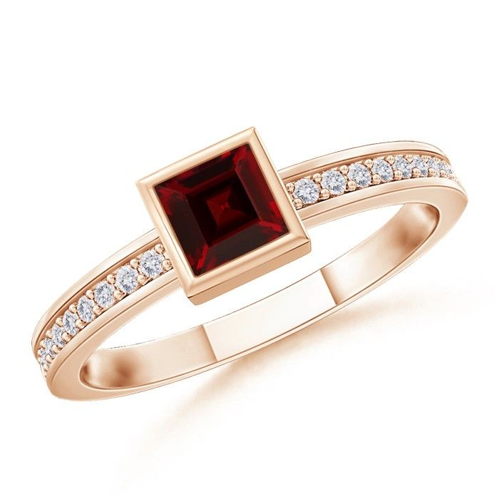 Angara Garnet Promise Ring with White Sapphire Halo in Rose Gold VRU5b2OGH