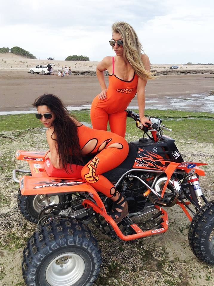 Atv girls ride topless