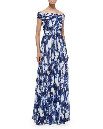 cd31dad85e6 TA4FM Shoshanna Arizona Off-the-Shoulder Printed Flowy Gown ...