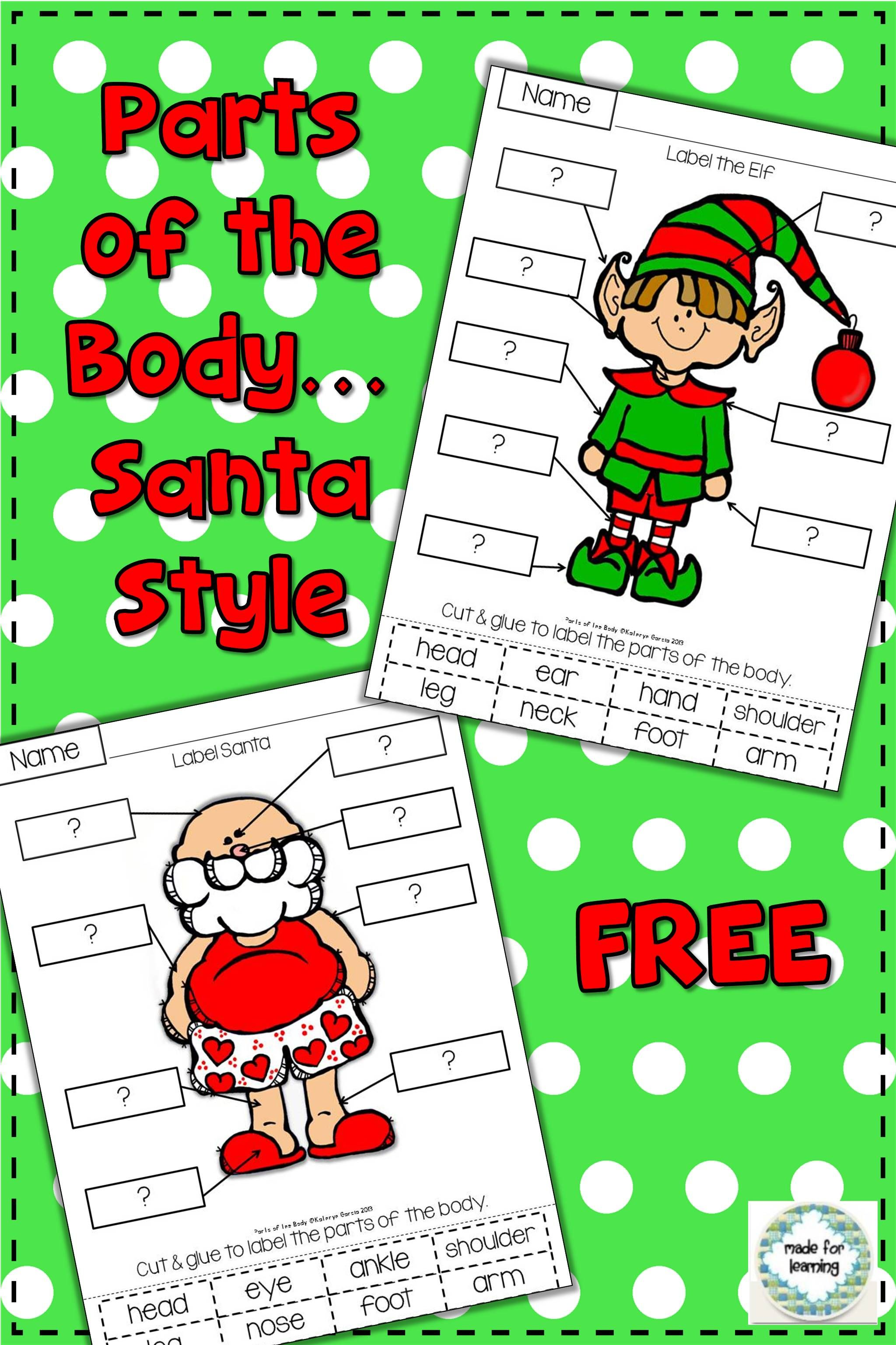Santa And His Elf Labeling Free Parts Of The Body
