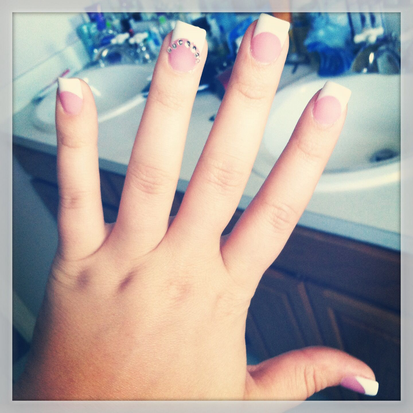 French manicure with rhinestones on the accent nail #frenchmanicure ...