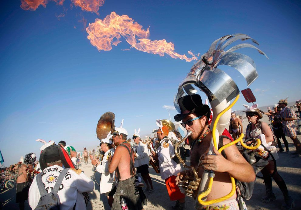 Eric Yttri plays a flaming tuba in the Black Rock Desert of Nevada, on August 30, 2012. (Reuters/Jim Urquhart) #