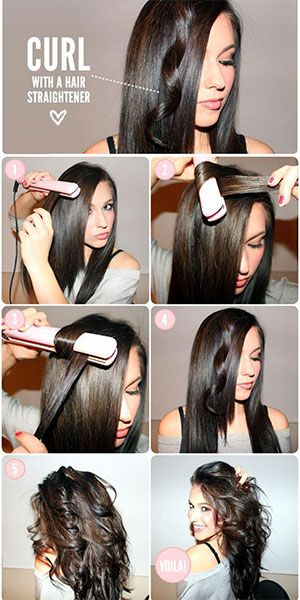 Curl Hair With Flat Iron Curling With Straightener Hacks How To Hair Styles How To Curl Your Hair Curls With Straightener