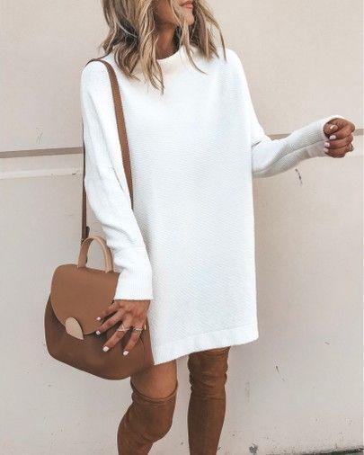 Sweater dress, fall style otk boots white tunic sweater dress #falloutfit #fallc… – Shoes Shop