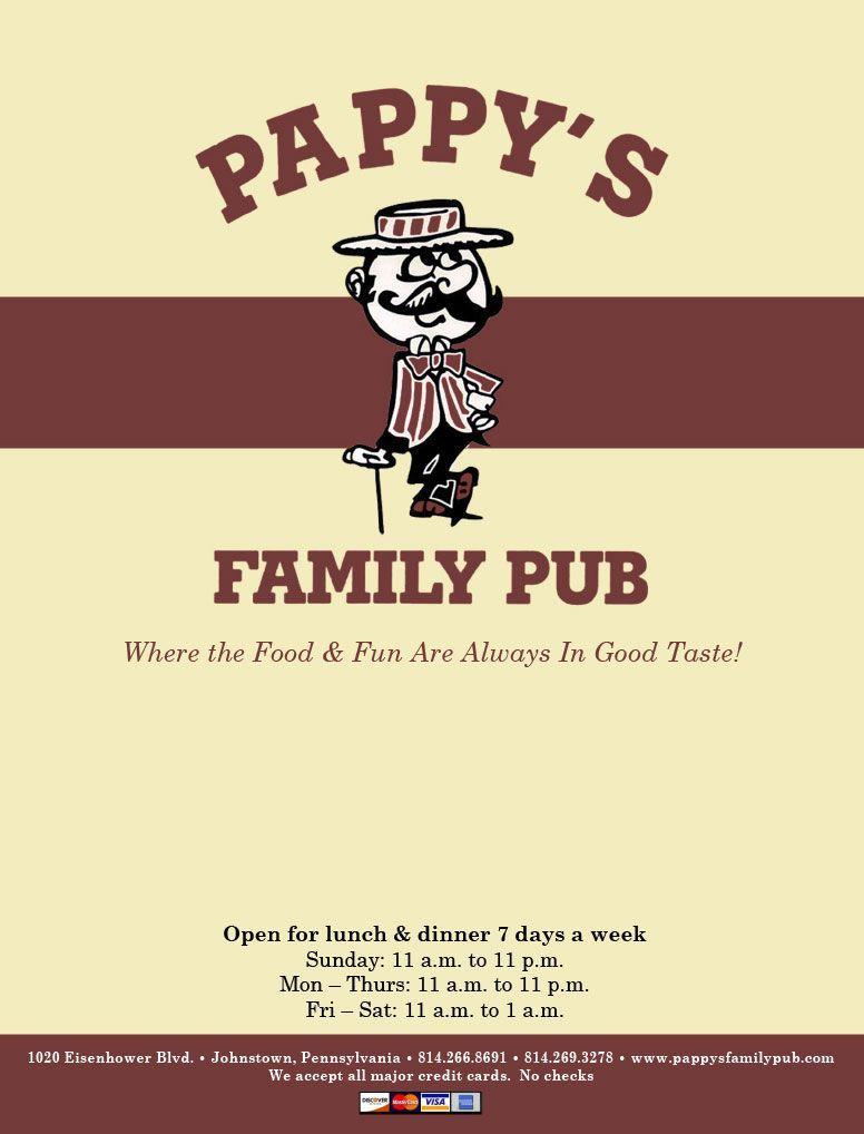 Pappys Family Pub Menu Johnstown Pa I Remember That