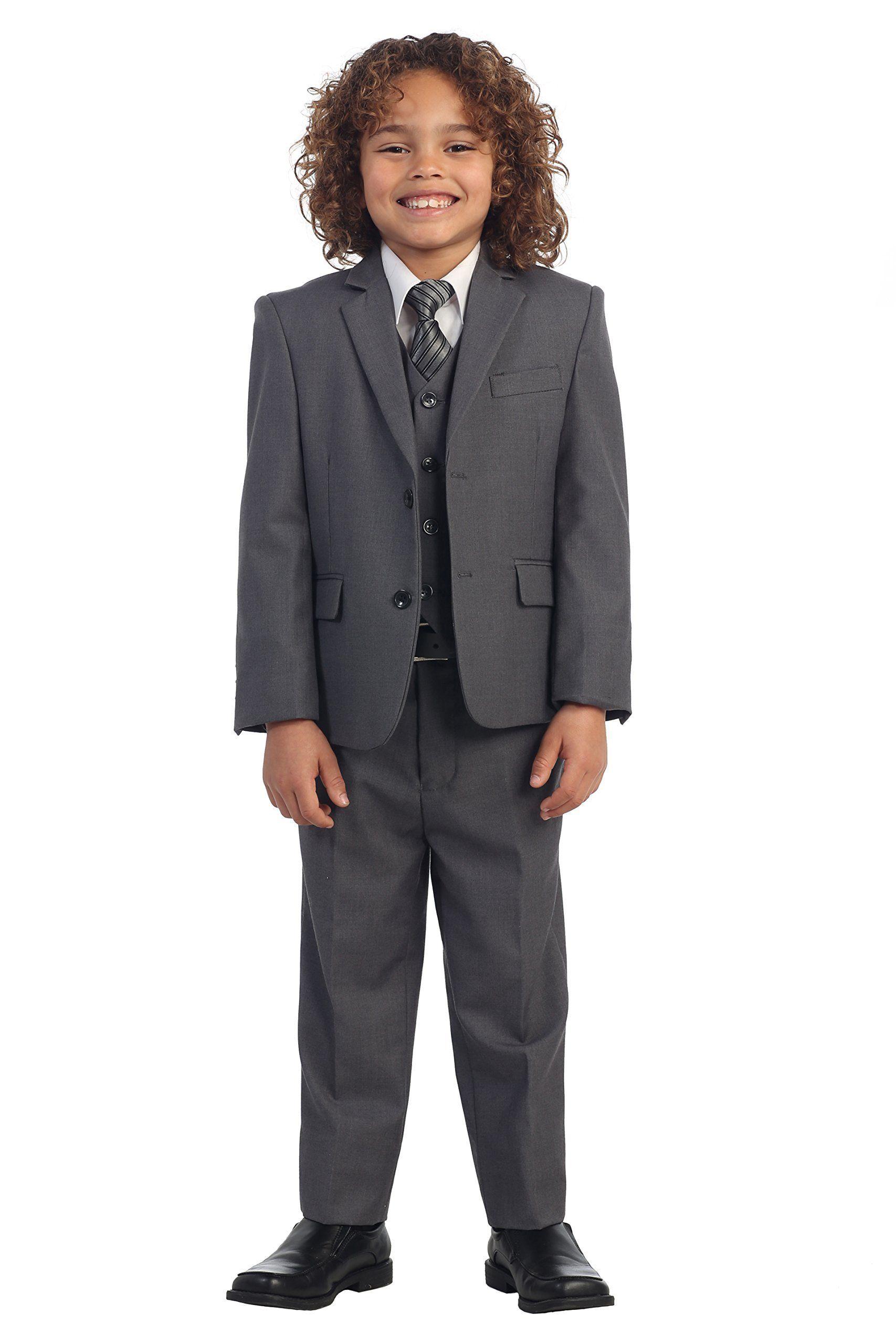 Amazon.com: Gioberti Little Boys Charcoal Suit, Vest, Pants, Dress ...