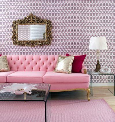sofa rosa e papel de parede lilas | Home | Pinterest