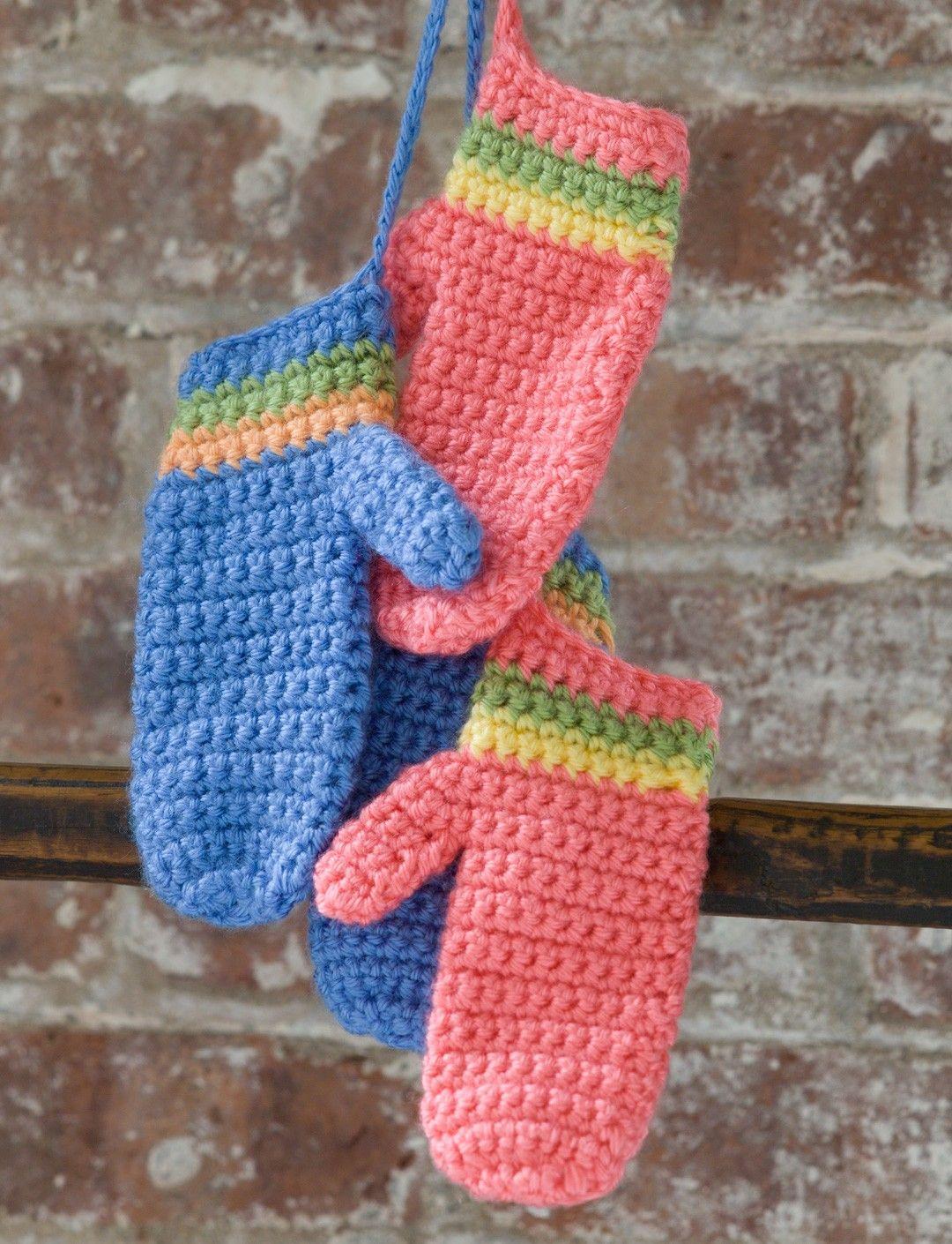 Yarnspirations.com - Caron Crochet Striped Mittens - Patterns ...