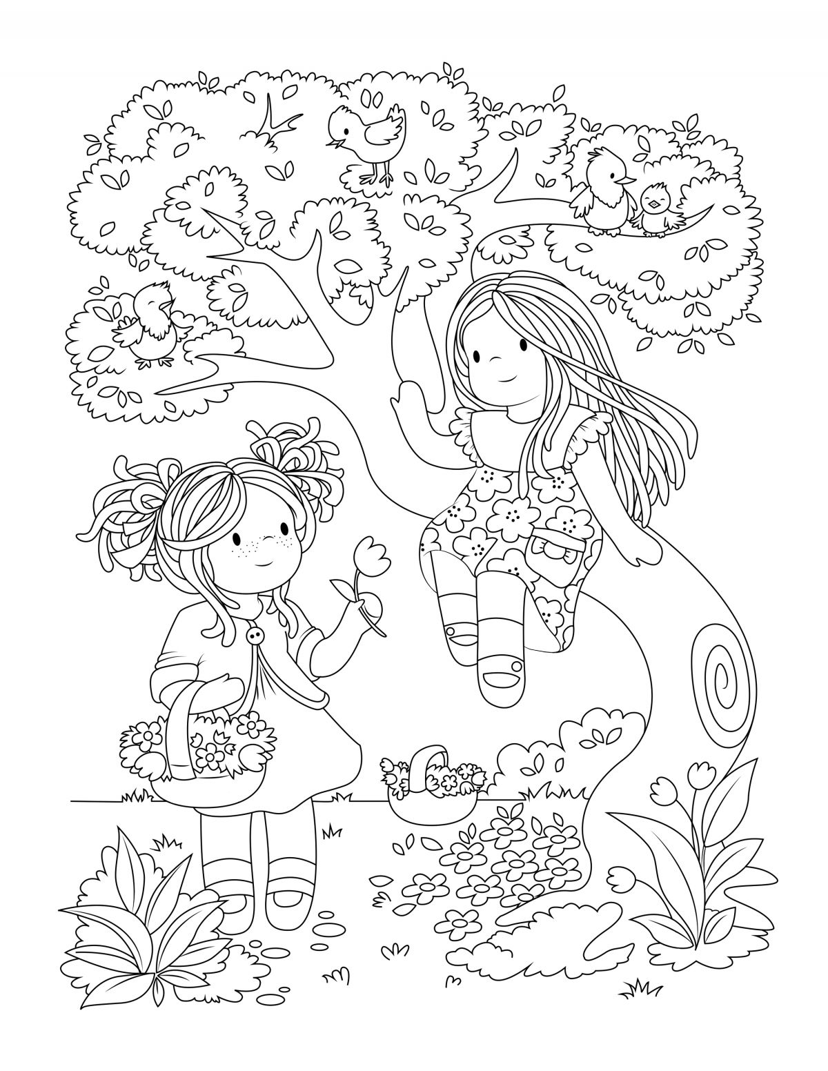 New Colouring Pages Picking Flowers In The Forest Coloring Pages Fall Coloring Pages Mom Coloring Pages