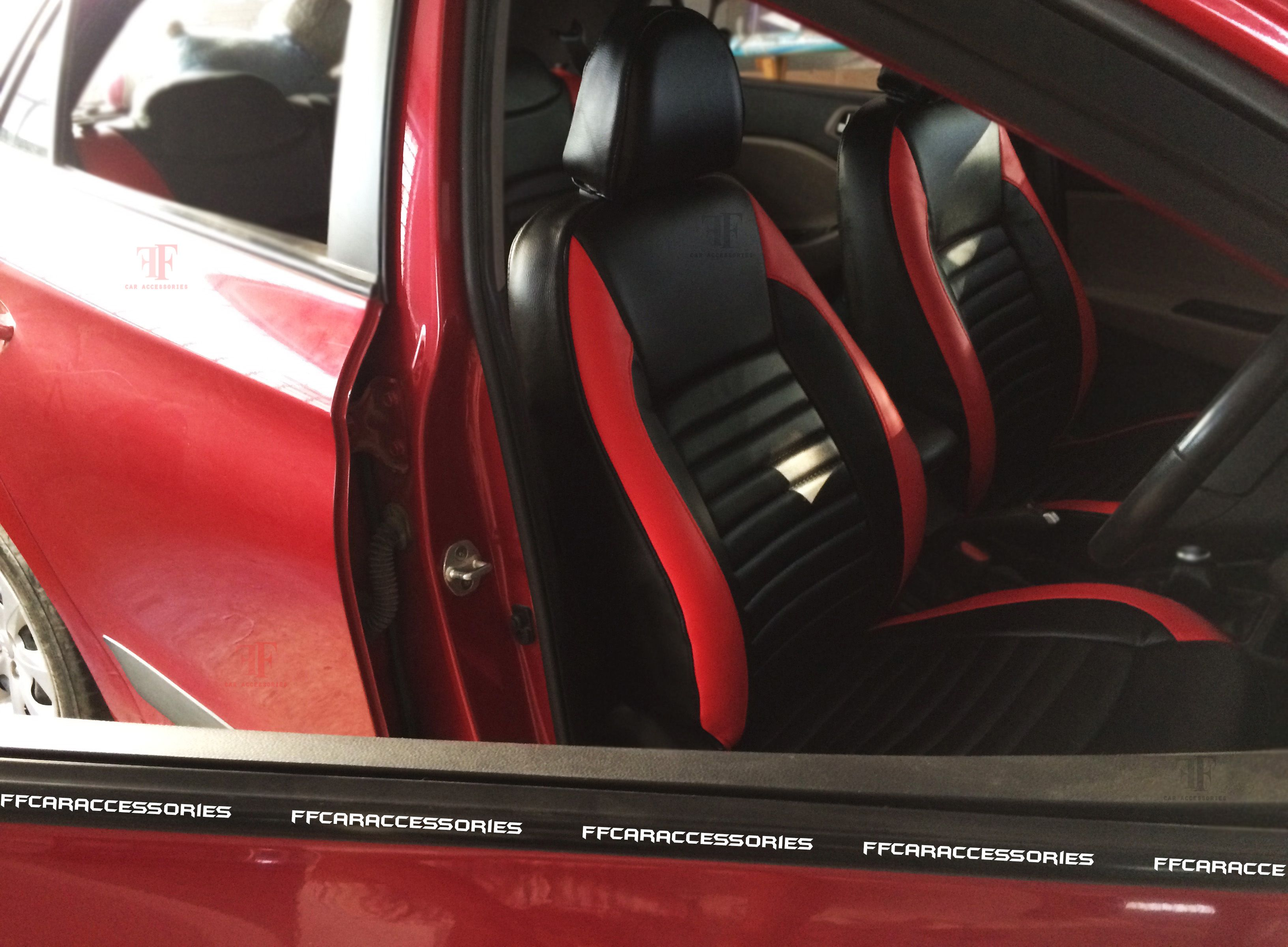 Red Black Combination Of Hyundai I 20 Customised Seat Cover Gives An Sporty Look Designed And Installed By Our Team