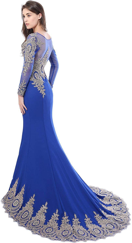 robe de soiree sirene satin avec manche longue | Robe, Robe