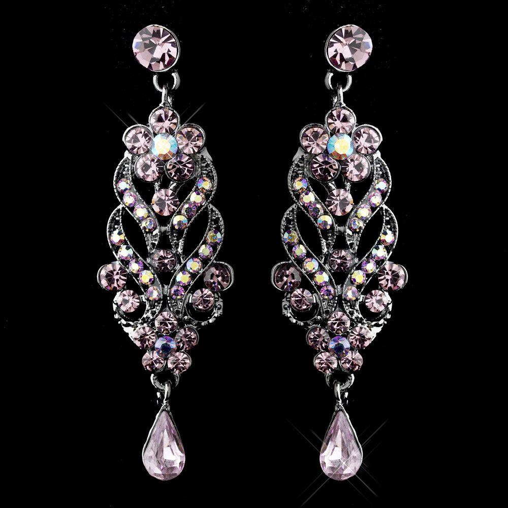 Light Amethyst Crystal Chandelier Wedding Earrings ...