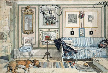 Carl Larsson's home, Lilla Hyttnäs, in 1899: light, airy, informal, and lived-in with a mix of old and new, including DIY'd textiles; a far cry from the typical Victorian-era home | painted by Carl Larsson