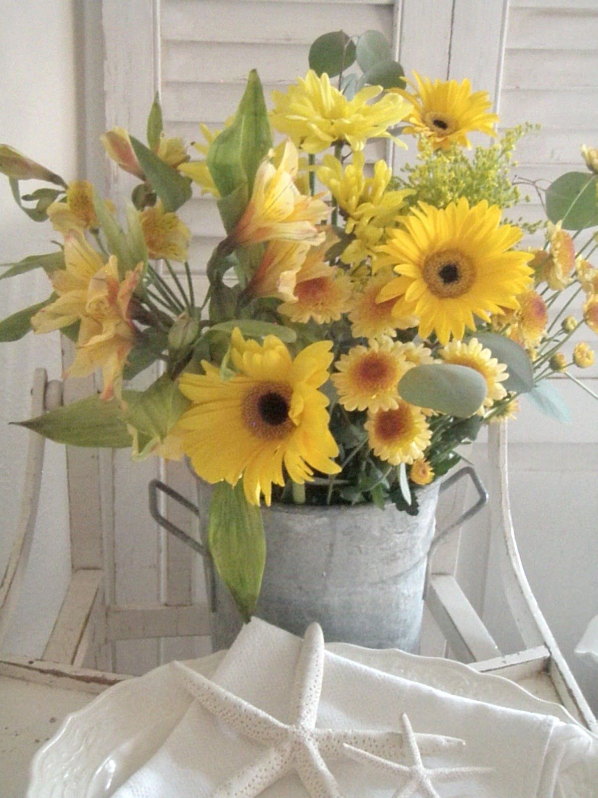 Gorgeous Yellow Flower Arrangement In A Vintage Tin Bucket Makes For