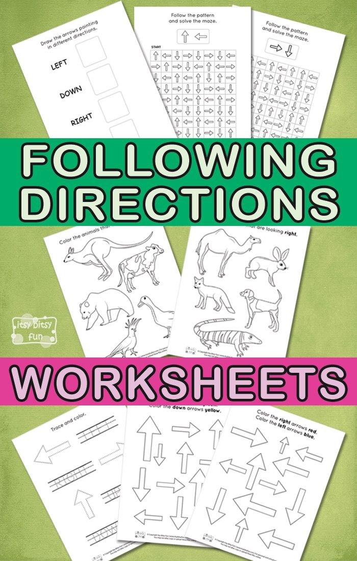 Following Directions Worksheets for Kids | Cosas