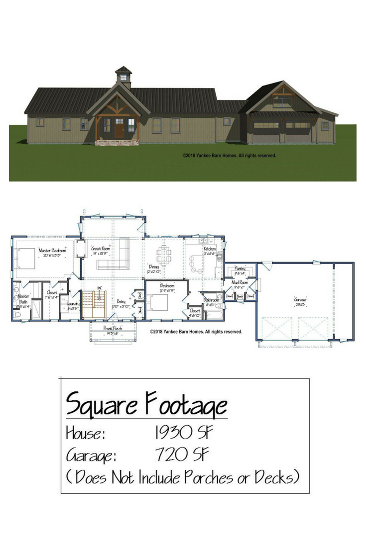 Yankee Barn Homes Introduces North Point A Single Story Hybrid Post And Beam House Plan Single Level House Plans House Plans Farmhouse Post And Beam House