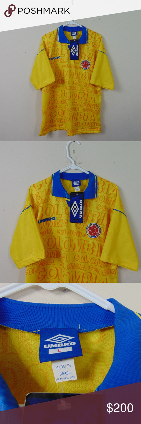 9af7d6ae4 New 90s Umbro Adult L Colombia World Cup Jersey New Vintage Umbro Adult L Colombia  World Cup Jersey Soccer Futbol Home FIFA 90s New with tags - extremely ...