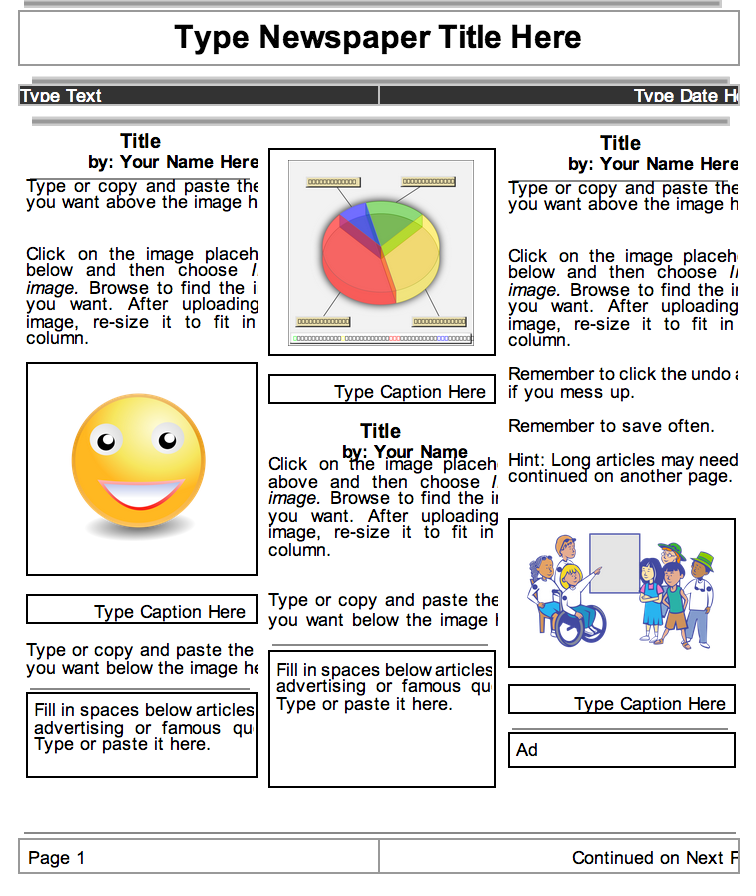 2 beautiful templates to create classroom newspapers using google 2 beautiful templates to create classroom newspapers using google docs educational technology and mobile learning pronofoot35fo Gallery
