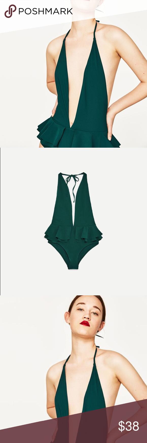 68e56275d12 NWT Zara Hunter Green Halter Neck Peplum One Piece Stunning ruffled waist  peplum bathing suit with low cut v neck and Halter neckline.