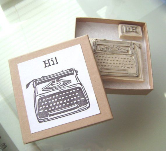 Vintage Typewriter Rubber Stamp - Handcrafted Wood Mounted ...