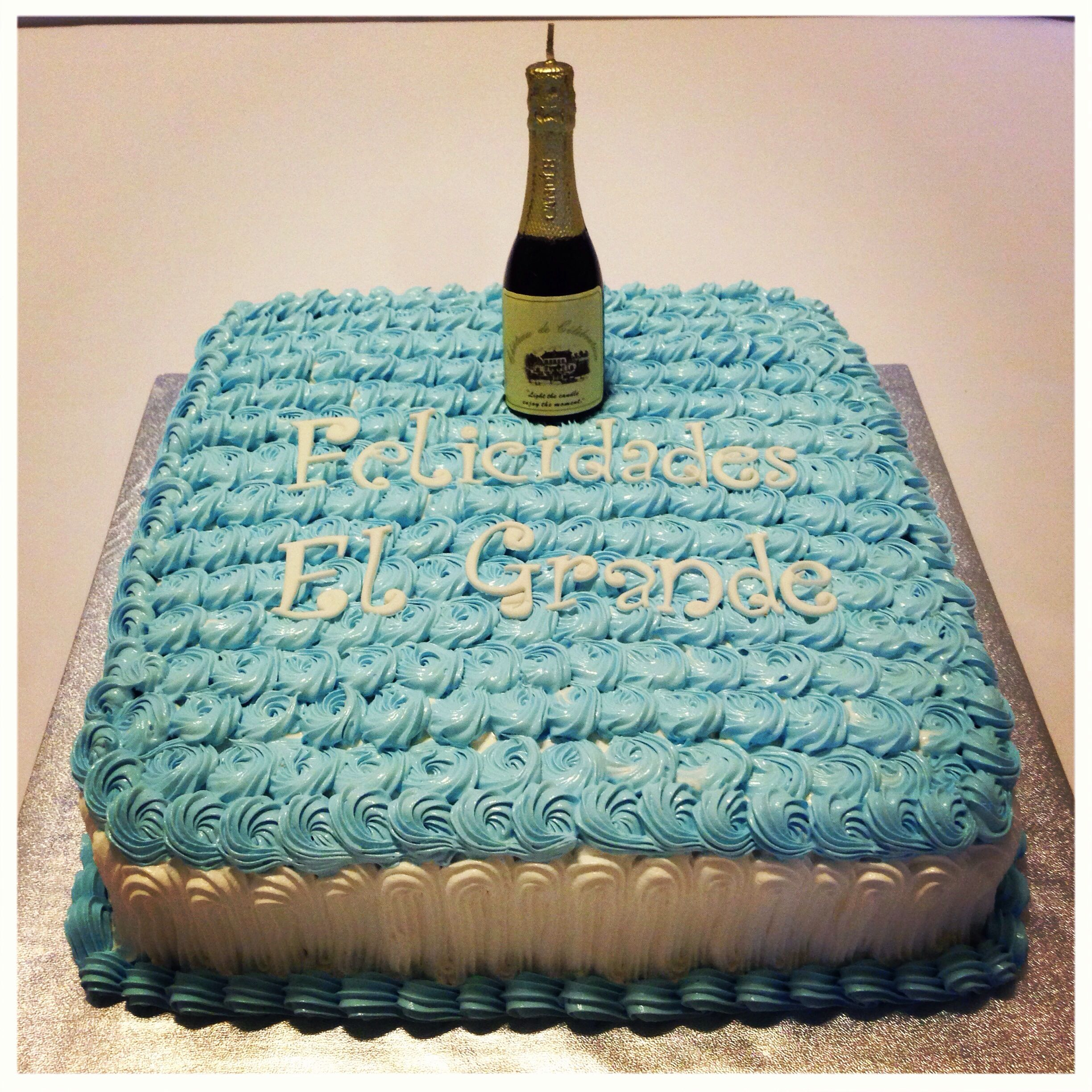 Birthday cake, Dominican cake, white and blue, simple ...
