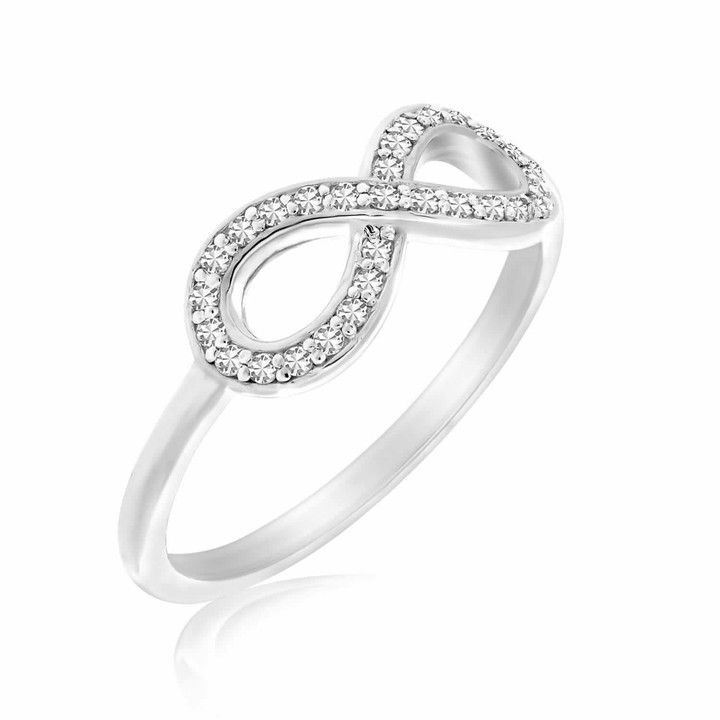 Diamond Studded Infinity Motif Ring In 14k White Gold 09ct Tw Gold Infinity Ring Crystal Earrings Diamond Studs