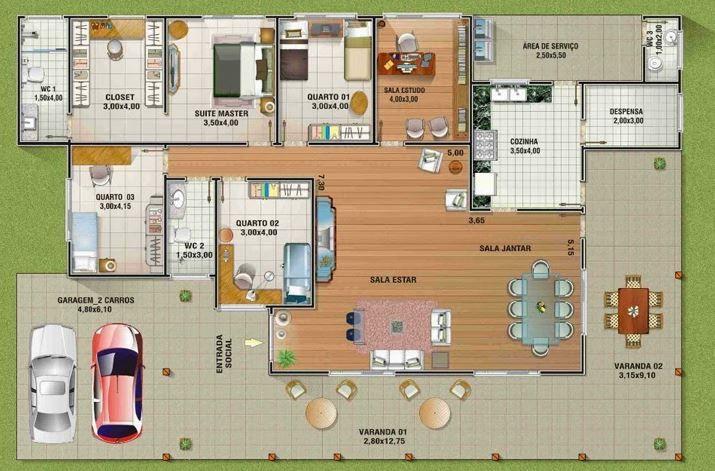 Planos de casas campestres con corredores decoracion con for Planos de casas sims