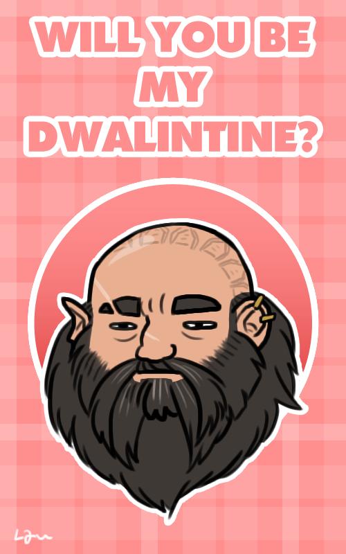 Dwalin Valentine's day card. http://algrenion.tumblr.com/ #Hobbit #Dwalin
