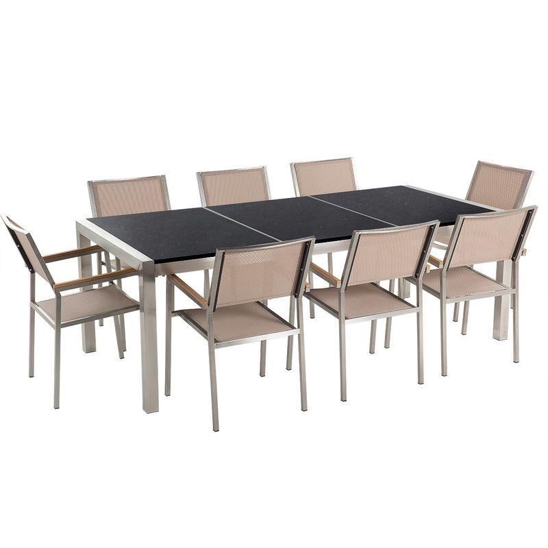 Table de jardin plateau granit noir 220 cm 8 chaises beiges ...