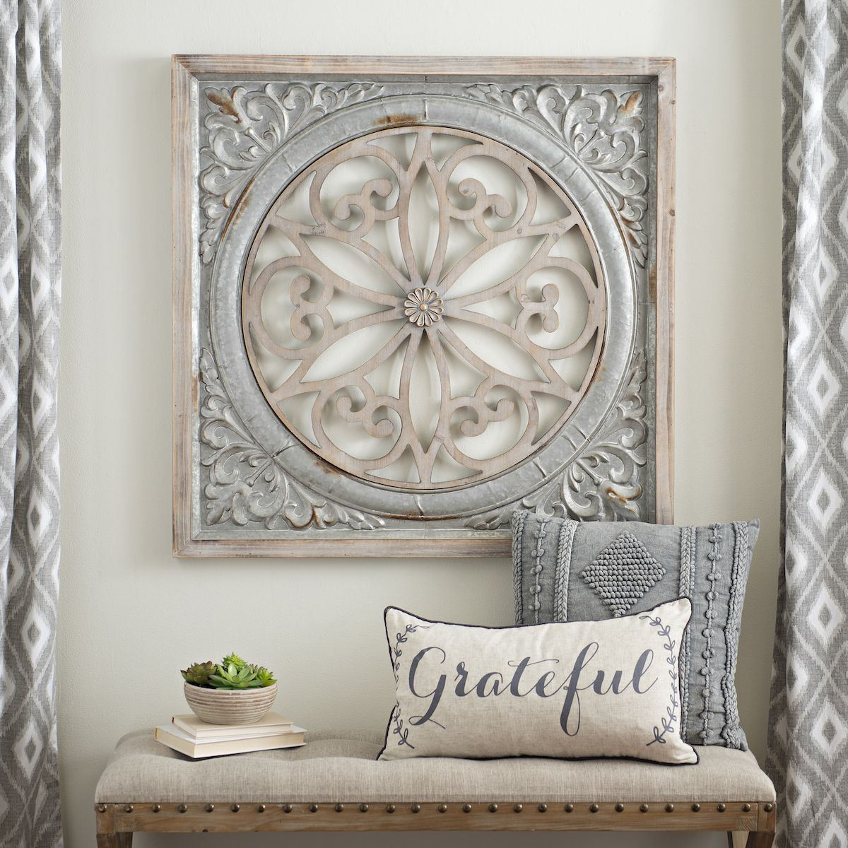 Galvanized metal medallion wall plaque decor pinterest bench