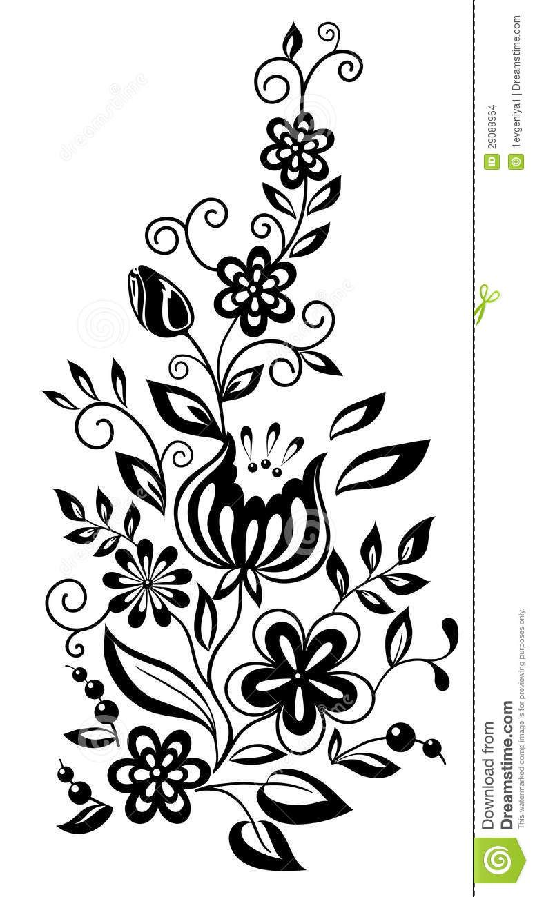 Black And White Flowers And Leaves Floral Design Stock Images