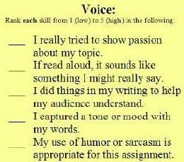 teaching voice. great way for students to assess their own writing.