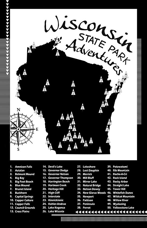 Amazon Com Wisconsin State Parks Checklist Map Poster Paper 11x17 Posters Prints Wisconsin State Parks State Parks Map Poster