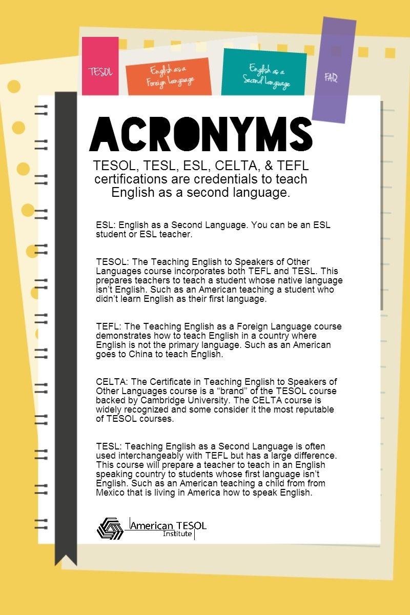 Acronym Overload The Difference Between Tesol Esl Tefl Tesol Tefl Teaching English