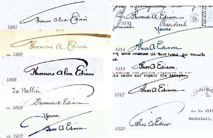 famous signatures thomas edison handwriting