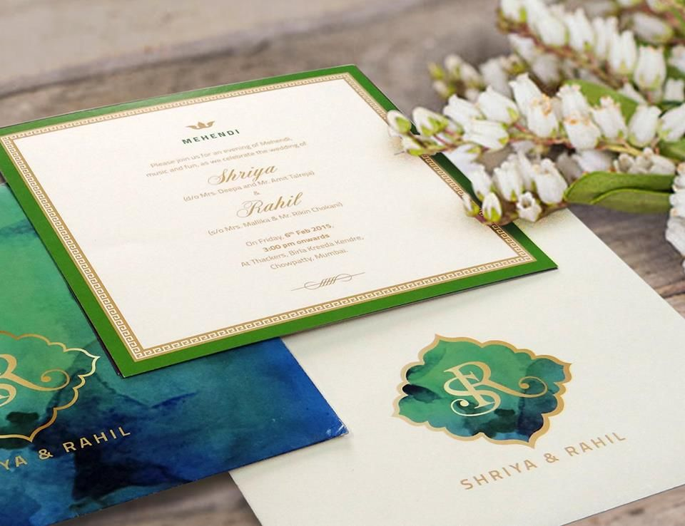 wedding invitation cards mumbai india%0A A blue  u     green colour scheme invitation by Unnati Sanghavi Shah