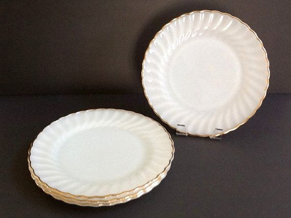 Anchor Hocking Milk Glass Plates Set of 4 White Dinner Plates Swirl Glass Gold Rim Milk Glass Plates Vintage Wedding & Anchor Hocking Milk Glass Plates Set of 4 White Dinner Plates ...
