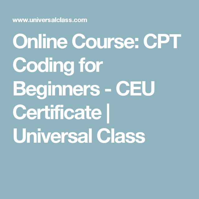 Online Course: CPT Coding For Beginners
