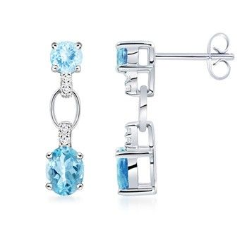 Angara 14k White Gold Aquamarine Oval Stud Earrings