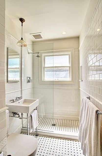 Bathroom Renovation Idea Take Out The Tub And Install Partial Glass Divider Classic Bathroom Craftsman Bathroom Shower Renovation
